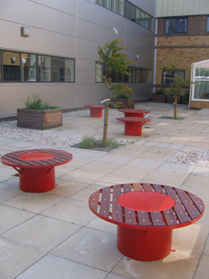 Blood cell benches at Oldham